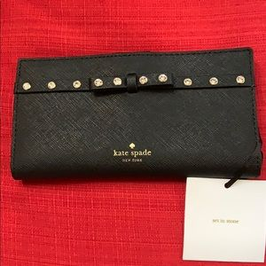 KATE SPADE NWT STACY LAUREL JEWELED LEATHER BIFOLD